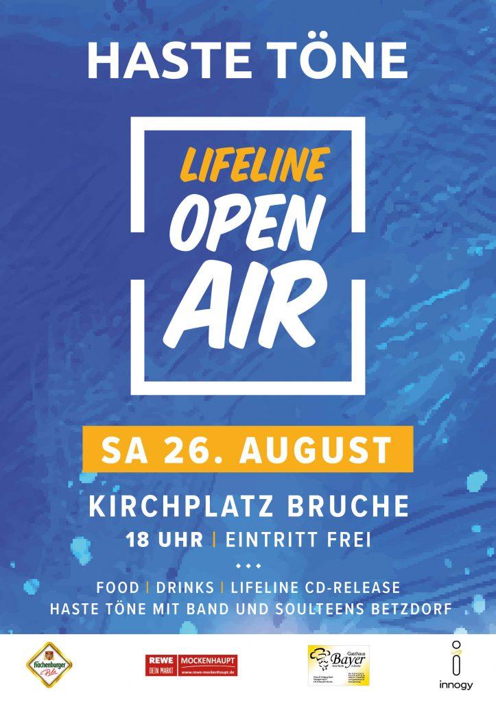 Plakat: LIFELINE Open Air Haste Töne am 26. August 2017 rund um den Kirchplatz in Brauche. Food, Cocktails, Bier und CD Release.